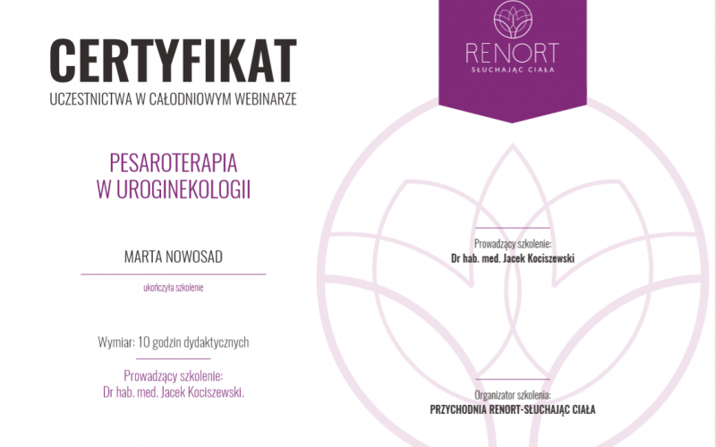 marta certyfikat